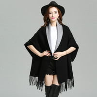 2017 Autumn New Maternity Women's Elegant Socialite Cashmere Tassel Cardigan Sweaters Batwing Sleeves Scarf Cape Outwear S-4XL