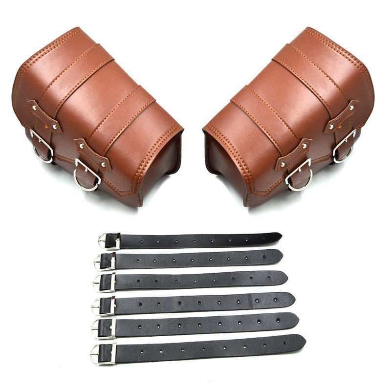 2Pcs And Good Quality Polyurethane Leather Motorcycle Leather Side Saddle Bags For Harley Sportster XL883/1200 Brown