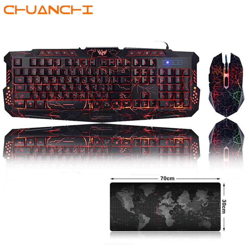 Newest M200 English/ Russian Gaming Keyboard Mouse Combos Purple/Blue/Red RGB Breathing LED Backlight USB Wired Keyboard For PC
