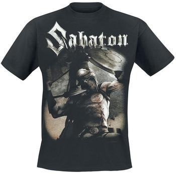 Мужская футболка с коротким рукавом Sabaton Sparta, черная футболка с коротким рукавом, большие размеры