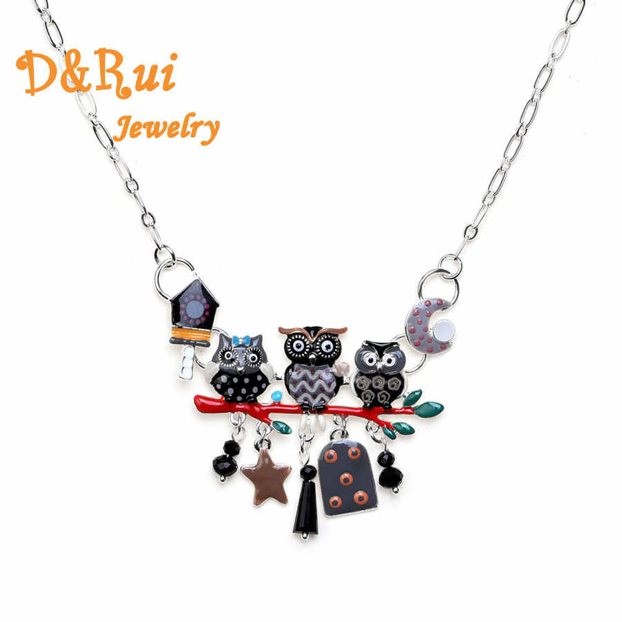 D&Rui Jewelry Fashion Owl Necklaces & Pendants Colors Enamel Animal Bird Moon Star Anime Christmas Gift Chain Necklace For Women