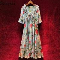 Svoryxiu Designer Summer Party Dress Women's Elegant Half Sleeve Floral Print Boho Holiday V Neck Chiffon Long Dresses Vestidos