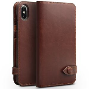 Image 5 - QIALINO Genuine Leather Phone Case for iPhone X Handmade Luxury Ultra Slim Wallet Card Slot Button Bag Flip Cover for iPhone X