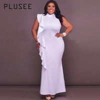 Plusee Dress Plus Size 4XL 5XL Women 2017 New Mermaid Solid Stand Collar Falbala Patchwork Zipper