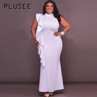 Plusee Dress Plus Size 4XL 5XL Women 2017 New Mermaid Solid Stand Collar Falbala Patchwork Zipper