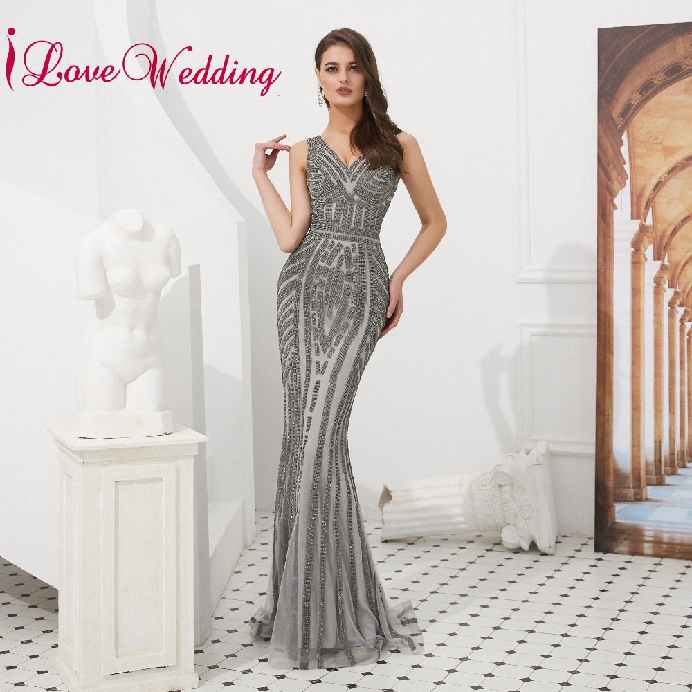 lower price with sale online high quality iLoveWedding Gorgeous V Neck Gray Sequins Prom Gown Sleeveless Formal Long  Mermaid Prom Dress Party Real Photo