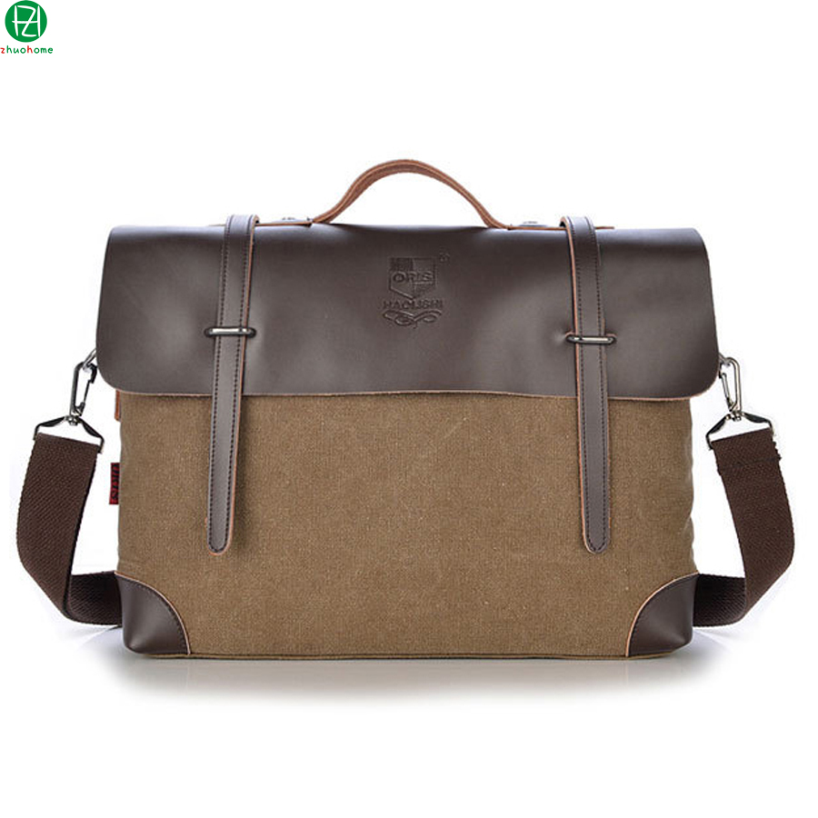ФОТО canvas+leather man handbags tote england Style vintage men messenger bags 14