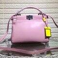 New Genuine Cow Leather Women  Bag Pure Color Ladies Shoulder Bags five Candy Color Women Mini Bag Clutch Bag