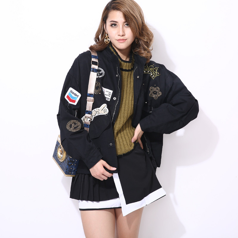 Loose Jeans Jacket, Women's New Spring 2019 Lapel Rivet Labeled Long Sleeve Military Black Jacket Women Jacket Coat