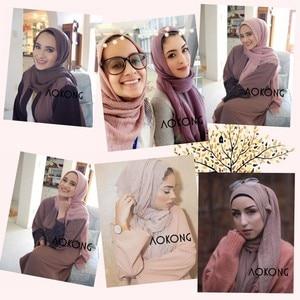 Image 2 - เดี่ยวชิ้นผู้หญิงMaxi Hijabs Shawls OversizeอิสลามWrapsนุ่มยาวมุสลิมFrayed Crepe Premium Cotton Plain Hijabผ้าพันคอ