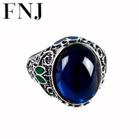FNJ 925 Sterling Silver Round Ring Synthetic Blue Corundum S925 Thai Silver Wedding Rings for Women