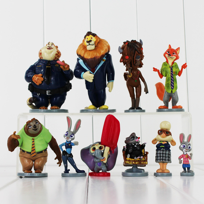Zootopia Judy Hopps Nick Wilde Figure Toys Flash Mr.Big Ele-Finnick PVC Model Dolls With Base Great Gift 5~10cm mini qute full set 2 pcs lot hc zootopia huge nick wilde judy hopps plastic building block cartoon model educational toy no 9011