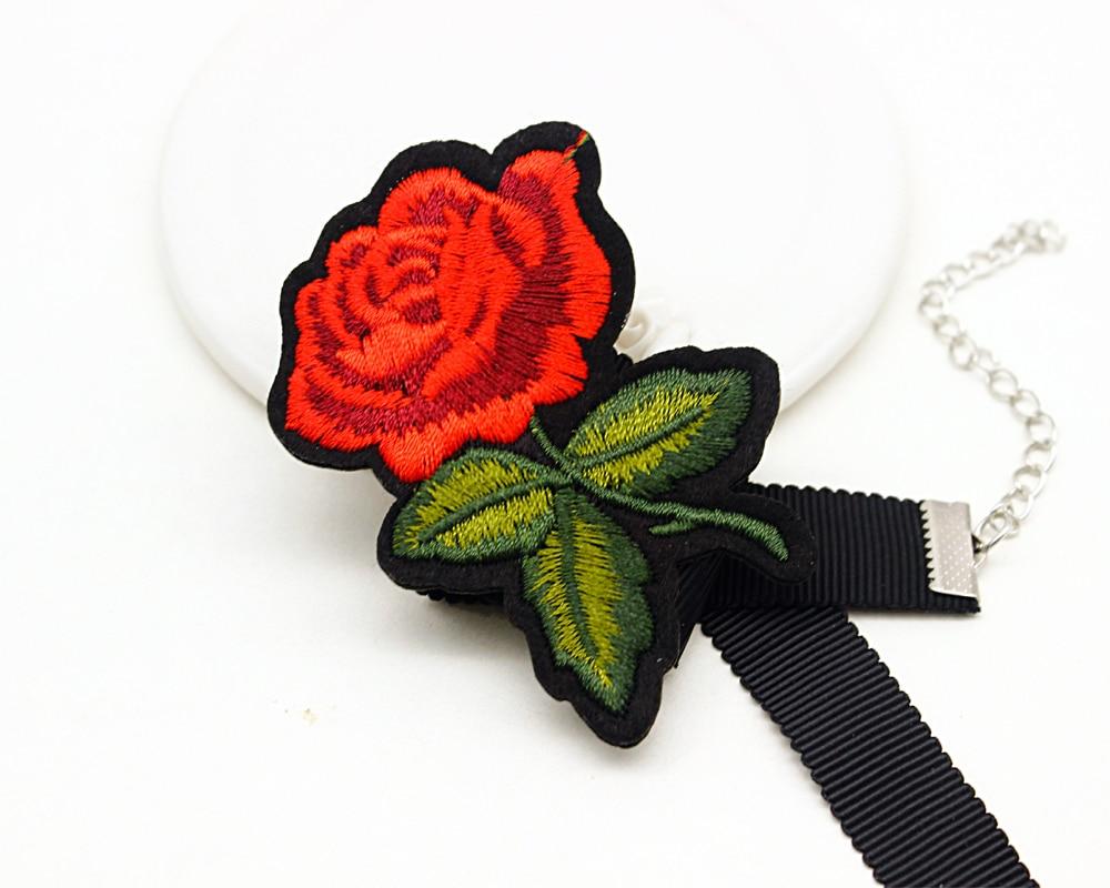 Charm Meisjes Geborduurde Bloemen Rose Flower Chocker Maxi Choker Ketting Boho Sexy Rose Tattoo Kraag Ketting Gift Valentijnsdag In Charm Meisjes