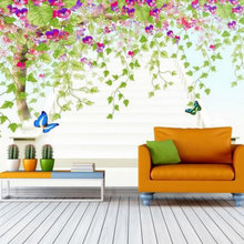Eco-friendly Fiber Decor Wall Coating 3D Colorful Wall Paper Custom Any Size Green Tree Abstract Art Mural Living Room 3D Fresco(China)