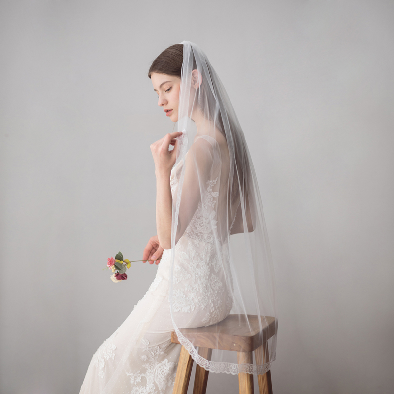 SLBRIDAL One Layer Wedding Veils With Combs Ivory Pearls Bridal Veils Wedding Accessories For Bride Mariage Women