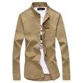 Toturn marca Casual Hombres Camisa de Manga Larga Slim Fit camisa Masculina 100% de color caqui de algodón vintage plus tamaño 4xl 5xl camisa de los hombres sólidos