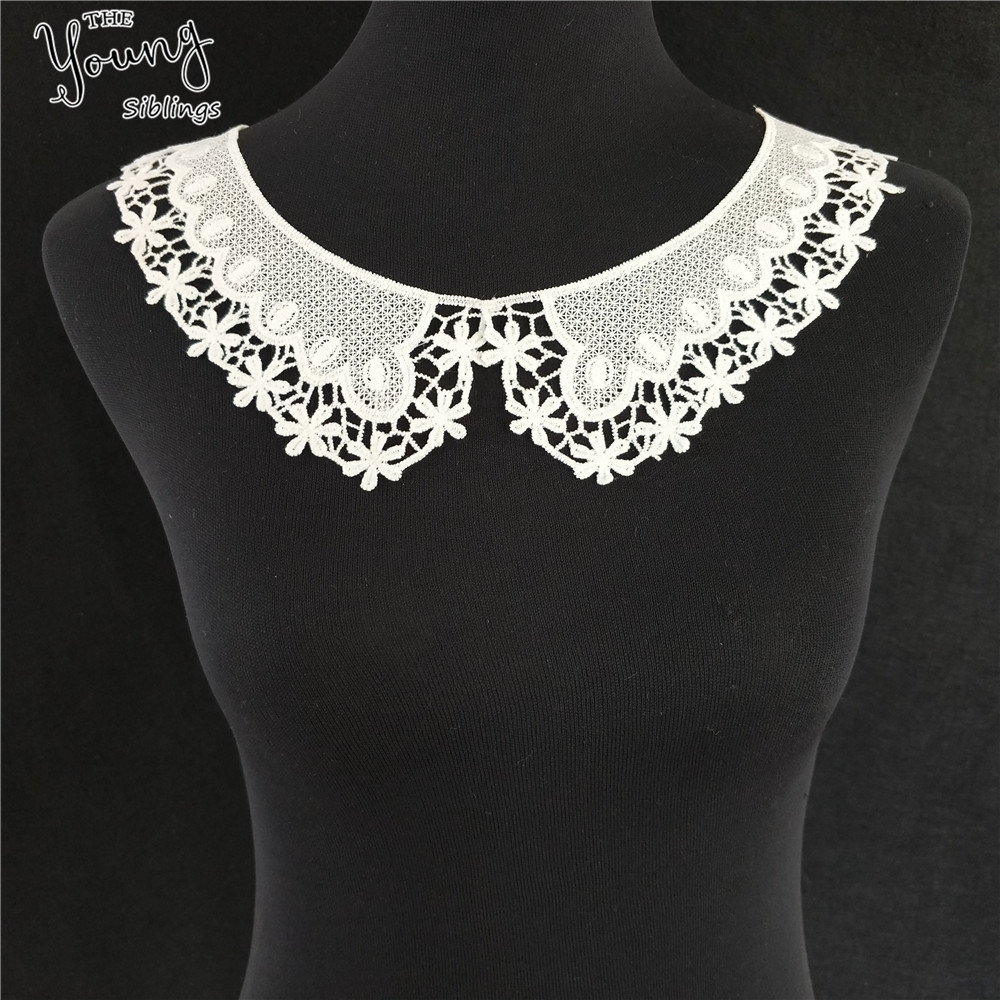 2018 New Lace Fabic White Flower Embroidered Applique Neckline Lace Collar DIY Wedding Dress Accessories Craft Sewing Supplies