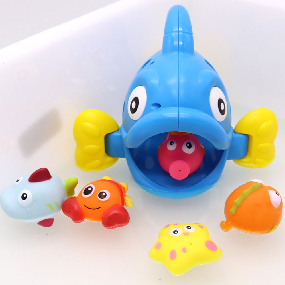 Baby Cute Fish Bathroom Shower Game Articles Beach Toys Bubble Fish Model Water Spray Outdoor Game Toys Kids Play Sand Tool