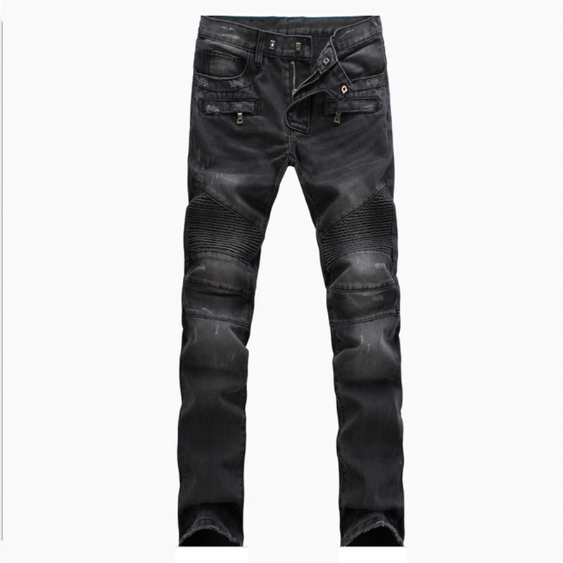 Fashion Mens Jeans Brand Hip Hop Ripped Biker Men's Jeans Distressed Moto Denim Joggers Washed Pleated Jeans Pants For Men