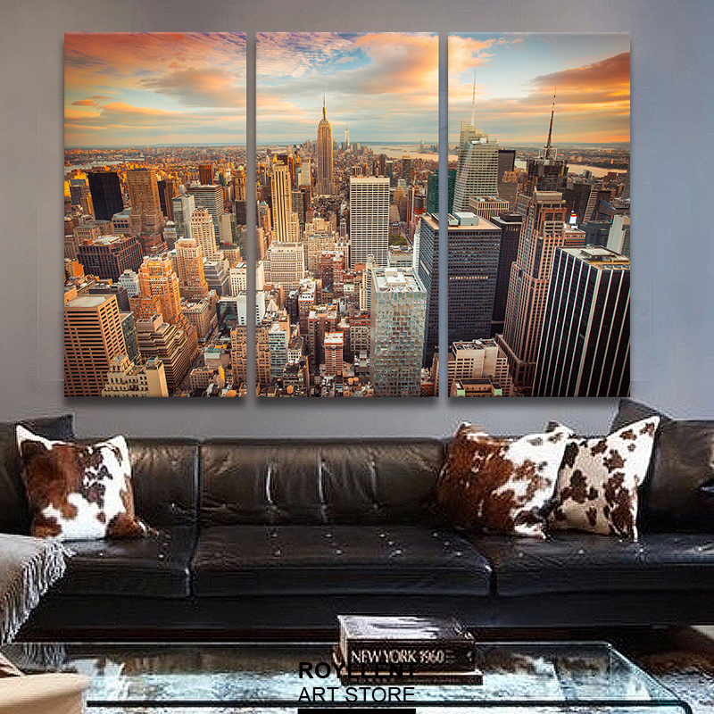 New York City Picture Canvas Painting Modern Wall Art For Living Room Unframed Decorative Landscape 3 Pieces In Calligraphy From