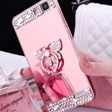 Diamond Glitter Mirror Case for Redmi 3 4 A X note 2 4 Cover for Xiaomi 5C 5S 6 plus max Note flash 360 Ring hold Crown butterfl