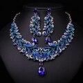Индийская мода Синий Горный Хрусталь Индийский Свадебные Аксессуары Партия Комплект Ювелирных Изделий Для Невесты Ожерелье Серьги Подарочный Набор Женщин
