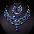 Fashion Indian Blue Rhinestone Indian Wedding Bridal Accessories Party Jewelry Set For Brides Necklace Earring Set Gift Women