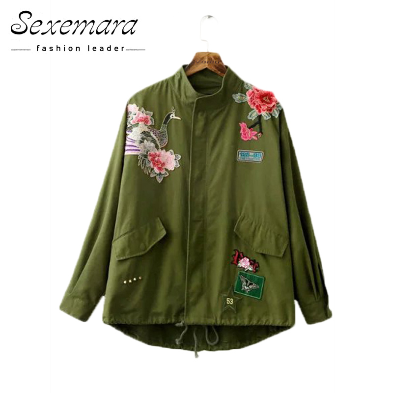 Autumn Floral Embroidery Bomber   Basic     Jacket   2017 Zipper Casual Embroidery Female Coat Rivet Army Green Long Flight   Jackets