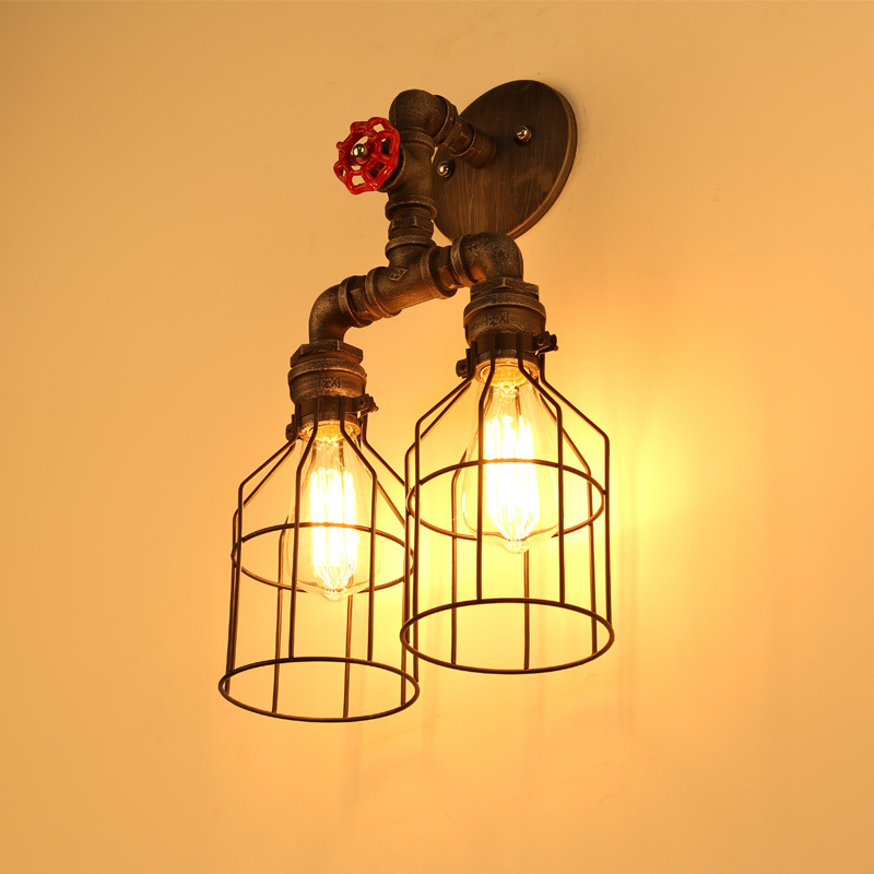 Vintage Industrial Water Pipe With Clock Wall Lights Loft Retro Rust Cages Edison Bulb Steampunk Double Wall Lamp for indoor