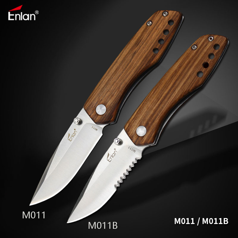 Enlan M011 Edc Folding Knife 8Cr13Mov Blade Wooden Handle Outdoor Camping Hunting Survival Tactical Utility Military Pocket Tool