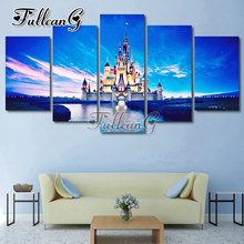 FULLCANG Diy Full Square Diamond Embroidery Beautiful Landscape Lake Castle 5PCS Painting Cross Stitch Mosaic Kits G595