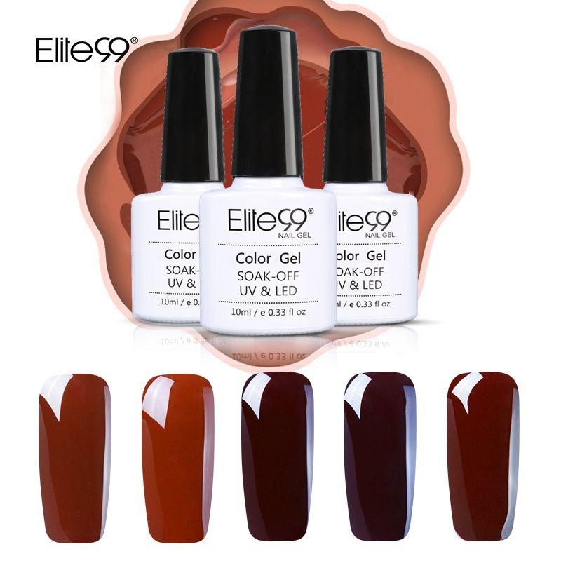 Elite99 12 Pieces Elegant Coffee Brown Color Gel Varnish 10ml Soak Off UV Finger Color Gel Nail Art Manicure Nail Polishes