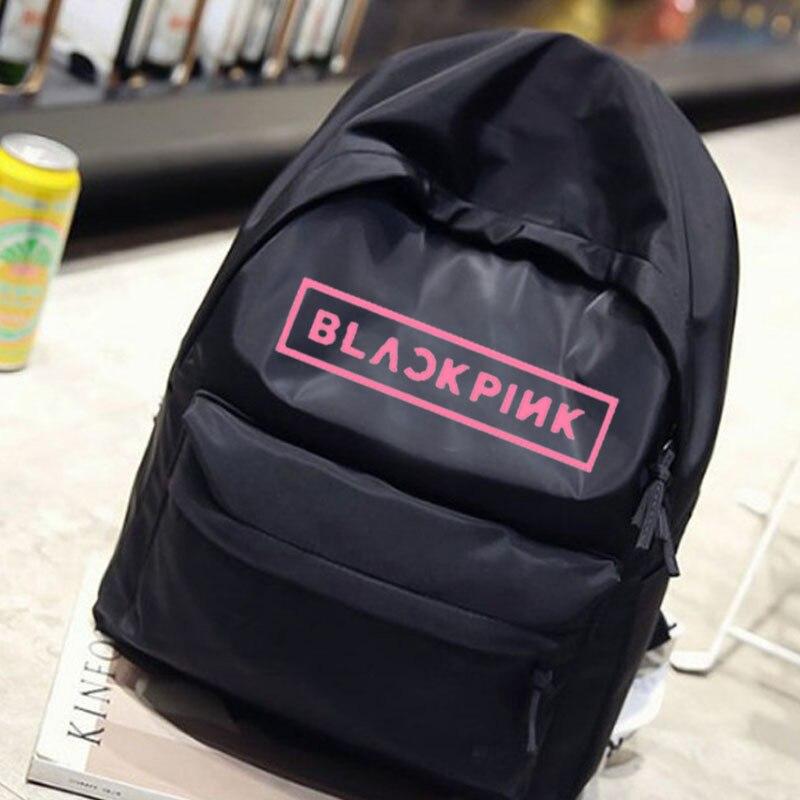Donne Corea Ragazze Bagpack Degli Scuola Zaino Adolescente Adolescenti Studente Blackpink Uomini 2019 Nero Il Borse Da Kpop Di Casual Tela rqxErz