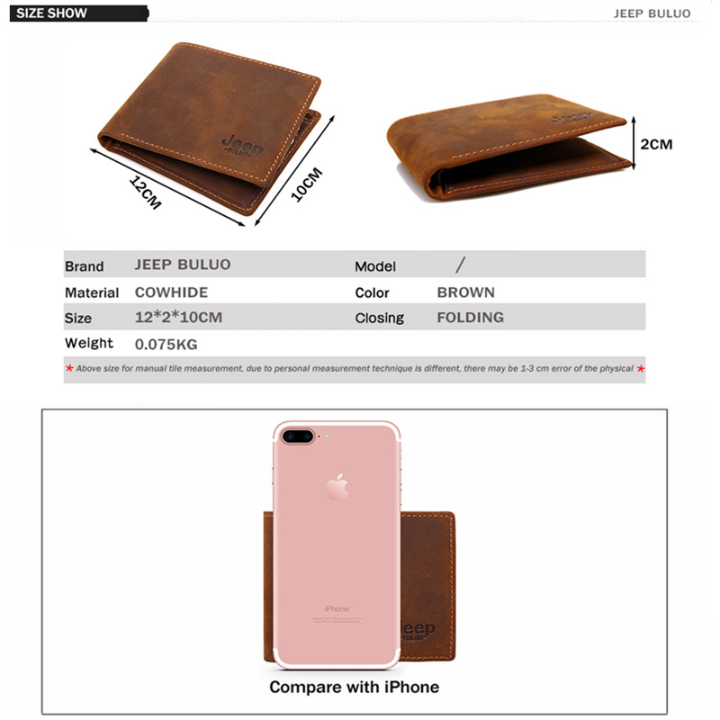 Image 2 - JEEP BULUO Luxury Brand Men Wallets Business Cow Genuine Leather  Mens Card Wallet Purse Top Quality Short Carteira Masculinacarteira  masculinamale purseleather mens wallet