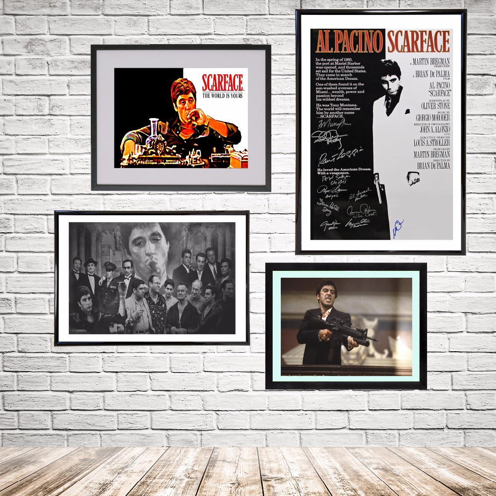 Scarface money power respect vinyl wall decal for home decore - Scarface Movie Vintage Canvas Art Print Painting Poster Wall Pictures For Room Home Decoration Wall Decor