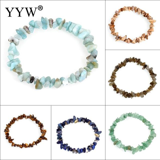 YYW Natural Real Gems Stone Beaded Bracelets Chips Nuggets Lapis Lazuli Tiger Ey