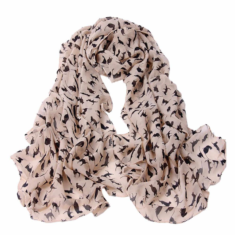 Mode Leuke Kat Afdrukken Sjaal Vrouwen 160cm * 50cm Chiffon Zijden Sjaal Dame Luxe Herfst Lange Zachte Sjaals stola Echarpe # BL5