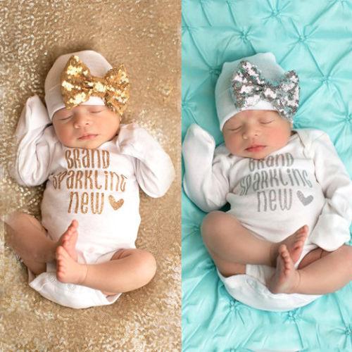 2PCS Newborn Infant Baby Girls Romper Bodysuit Jumpsuit+Hat Outfits Clothes Set