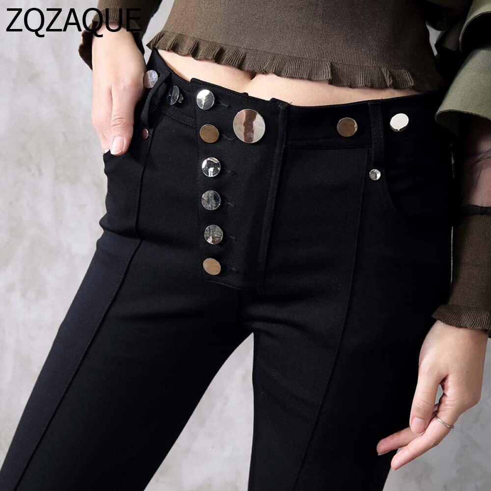 XS-L taille disponible! Femmes européennes et américaines Top qualité haute élastique crayon pantalon Rivet métal bouton décoré pantalon SY1492