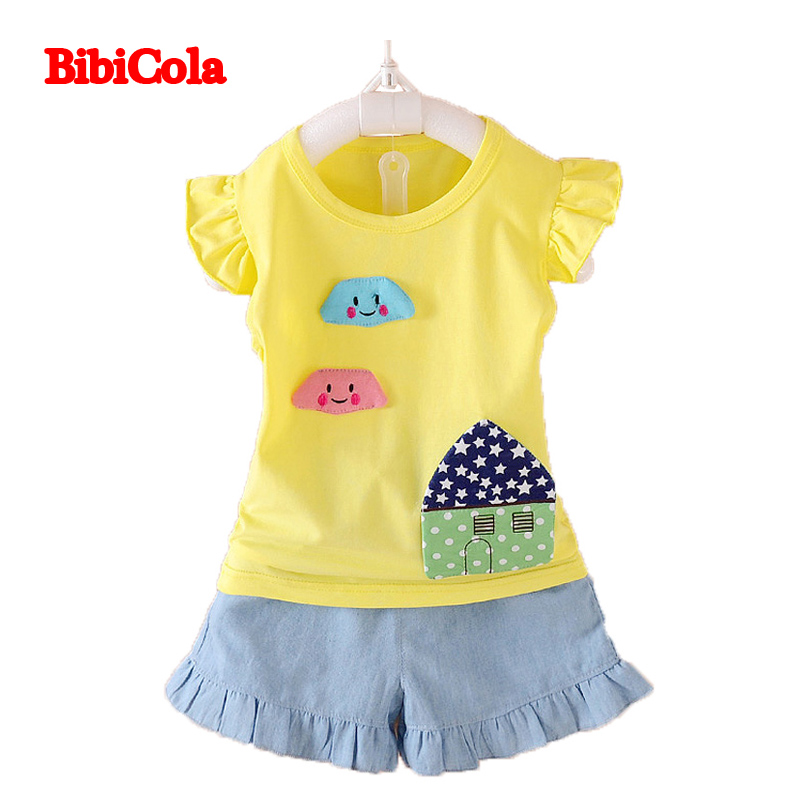79f836a5 BibiCola summer baby girls clothing set kids top +jeans summer girls shorts  set toddler tracksuit set casual outfits set
