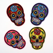 4 pcs Tatuagem Do Crânio Do Açúcar Mexicano Biker Patch DIY Esqueleto Bordado Patches de Ferro Em Emblemas De Tecido Florido Pano Applique(China)