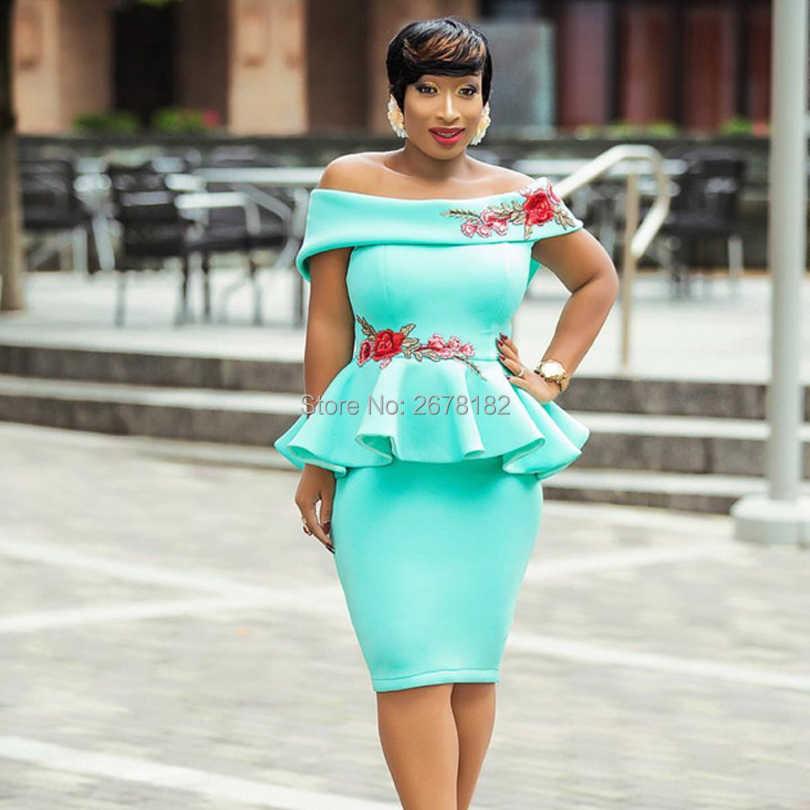 09eba53e83ca ... Turquoise Pink Off Shoulder Slash Neck Floral Embroidery Package Hips Bodycon  Midi Dress Elegant Ladies