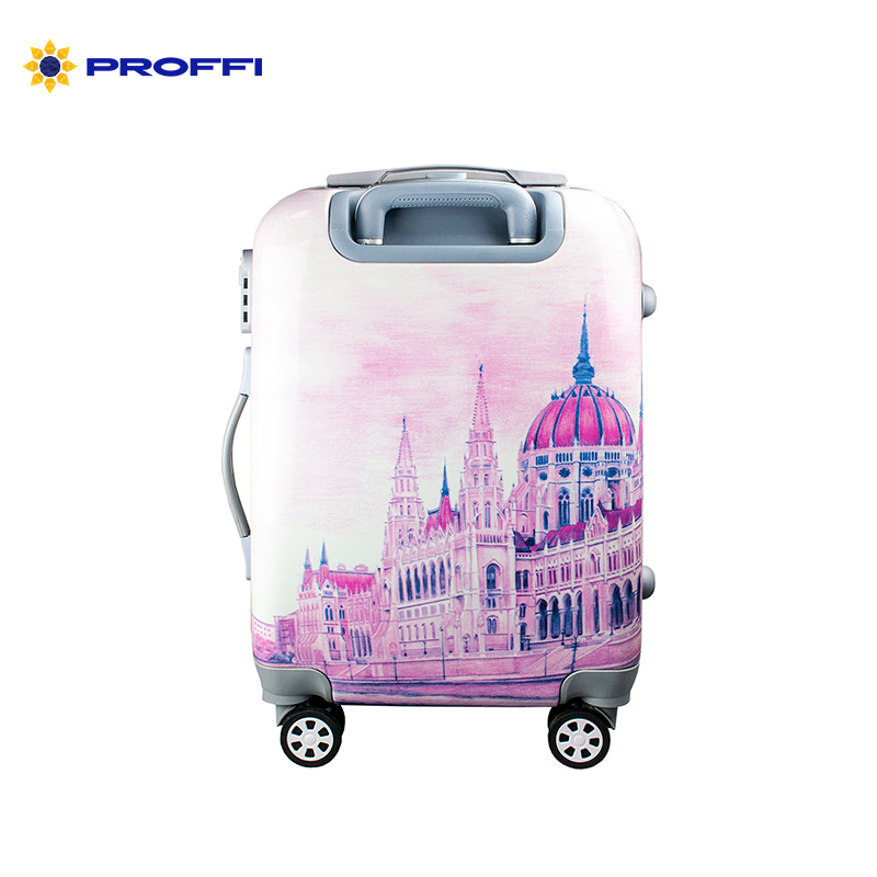 Fashionable suitcase with print PROFFI TRAVEL PH9210, S, plastic, with combination lock on wheels