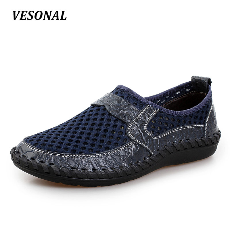 VESONAL Summer Genuine Leather Moccasins Mesh Breathable Men Casual Shoes Loafers Slip On Handmade Driving Male Walking Cheap big size 39 48 men flats summer genuine leather loafers breathable driving shoes moccasines slip on male casual shoes xk032808