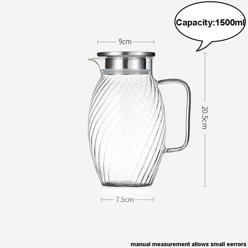 1500 ml style japonais marteau motif verre bouteille d'eau haute capacité jus de fruits lait café bouilloire résistant à la chaleur citron théière - 2