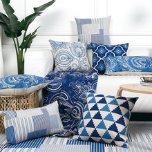 Chinese Style Decorative Throw Pillows Case Oriental Geometric Cushions Cover Home Decor Blue Chair Couch Pillowcase for sofa(China)