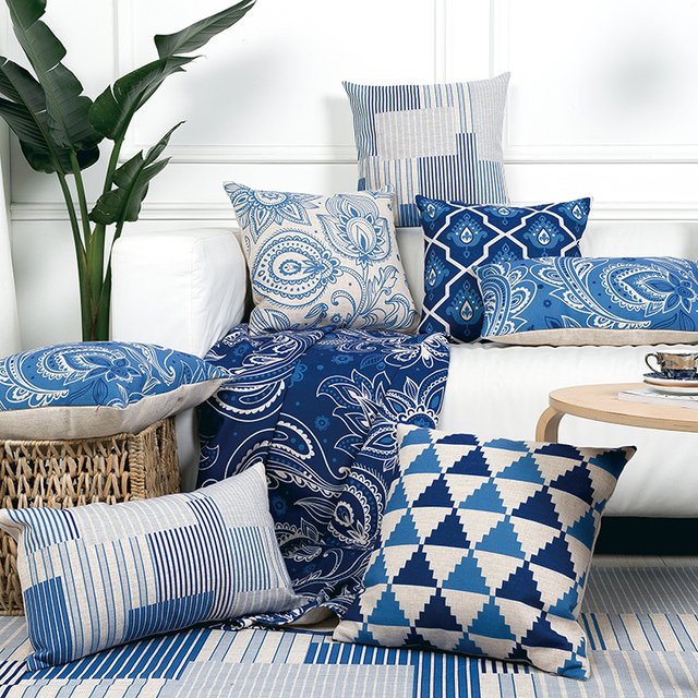 Chinese Style Decorative Throw Pillows Case Oriental Geometric Cushions Cover Home Decor Blue Chair Couch Pillowcase