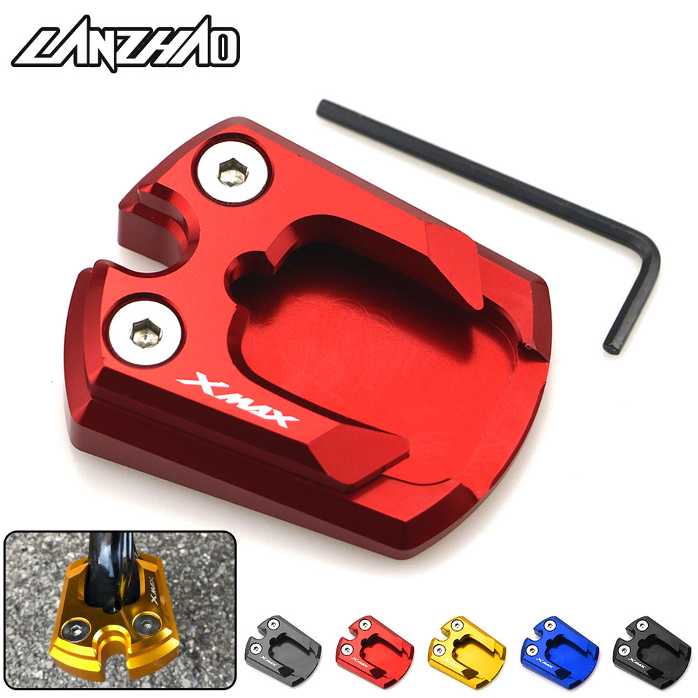 CNC Aluminum Motorcycle Kickstand Enlarge Plate Pad Side Stand Enlarger Motorbike Accessories For Yamaha X-MAX 300 XMAX300 2017
