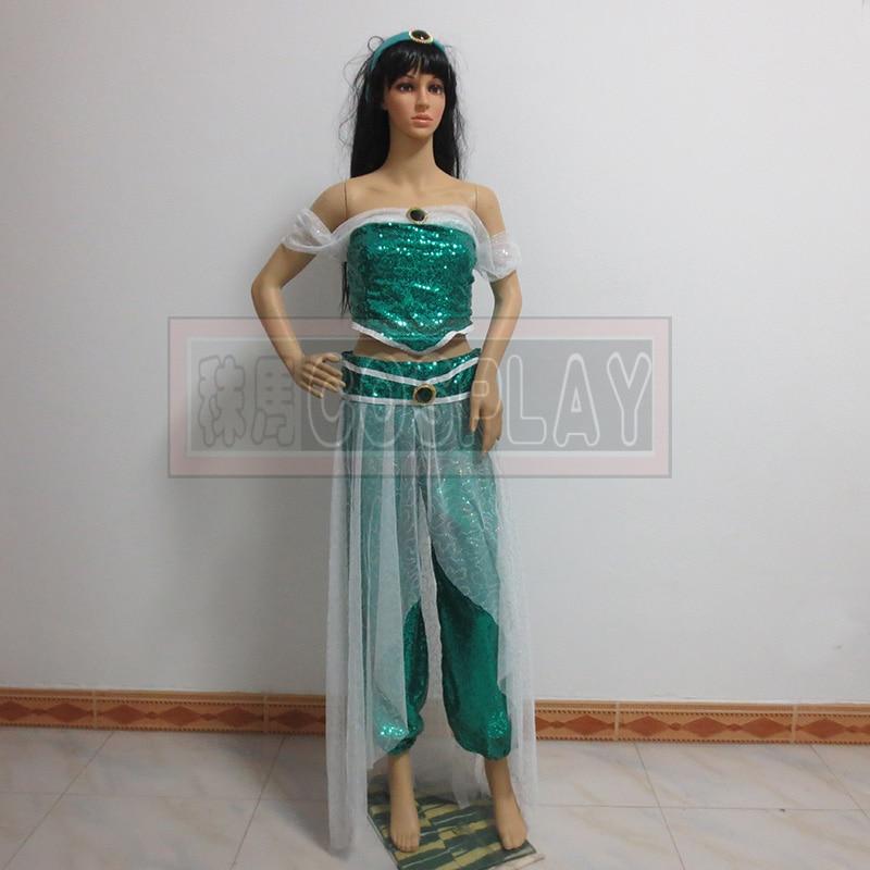 Aladdin Princess Jasmine Dress Women Cosplay Halloween Jasmine Costume Adult cosplay costumes costom made