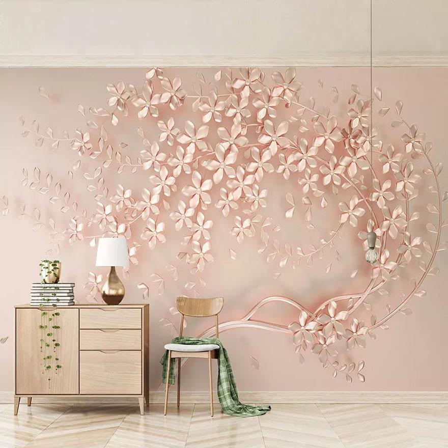 3D Custom Mural Wallpaper Rose Gold Flower Luxury Living ...